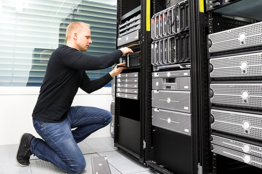 Man looking after servers